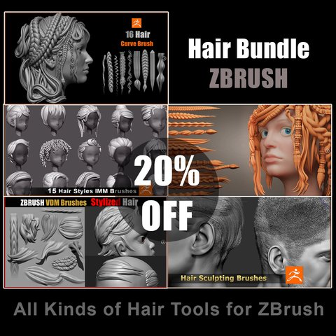 Hair Bundle For ZBrush