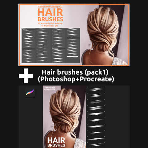 Hair brushes pack 1 (Photoshop+Procreate) - Standard License