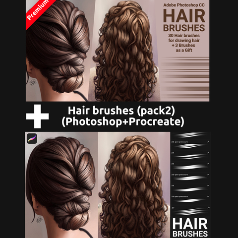 Hair brushes pack 2 (Photoshop+Procreate) - Standard License