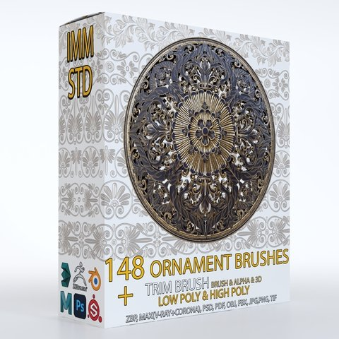 148 Ornament IMM, Standard and Trim brushes with 3D Model and Alpha ( Commercial License )