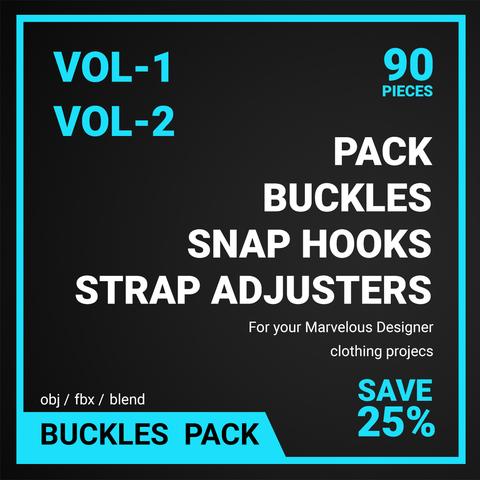 Buckles, Snap hooks, Strap adjusters Pack Vol 1-2