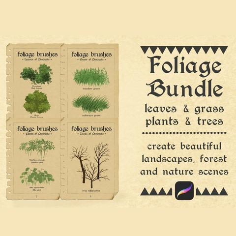 Procreate Foliage Bundle - 50 Brushes - Landscape