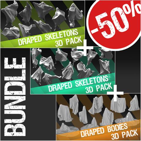 Bundle: 3D Pack: Draped Skeletons + 3D Pack: Draped Skeletons 2 +3D Pack: Draped Bodies
