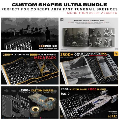CUSTOM SHAPES ULTRA BUNDLE [BEST FOR CONCEPT ART & TUMBNAILS KETCHING ] 8000+
