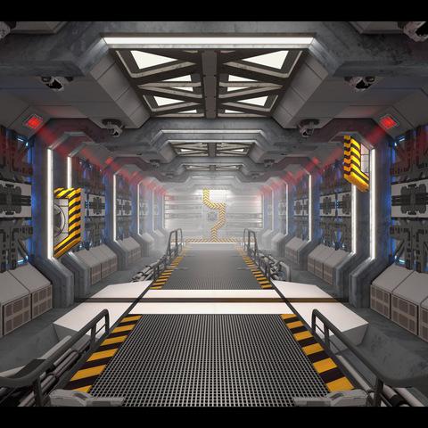 Spaceship Corridor Loop (4K) - 3 Animations