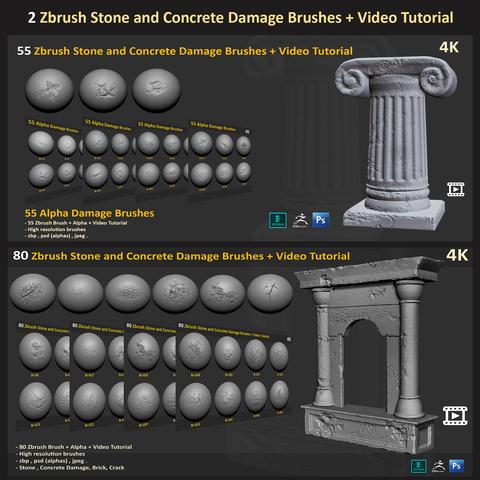 2 Zbrush stone and Concrete Damage Brushes + Video Tutorial Bundle  (135 High-quality Brush )