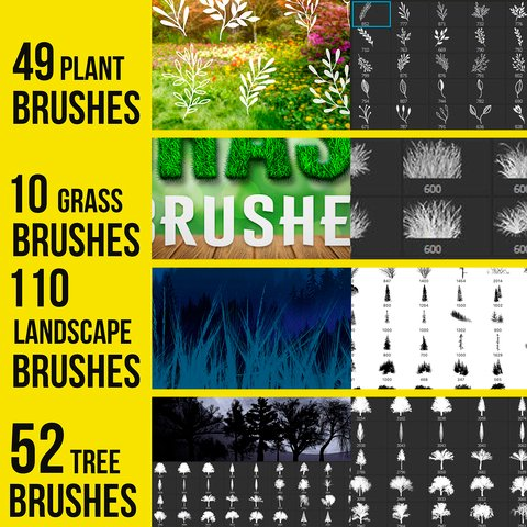 221 Tree and plants brushes for Photoshop