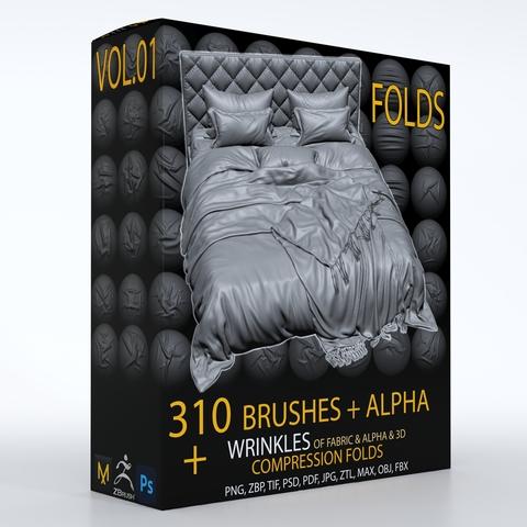 310 ZBbrush Brush + ALPHA , ( wrinkle & fold brushes for fabric and leather ) + 3D model & 3 Video Tutorials