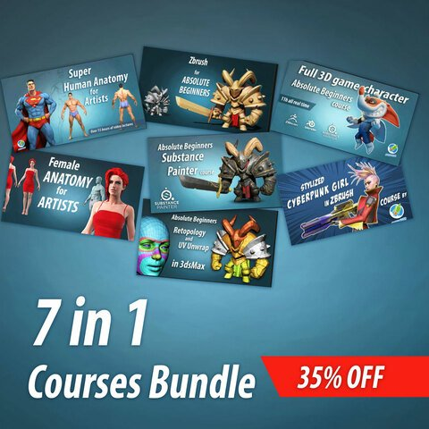 7 in 1 Anatomy and  Zbrush courses bundle