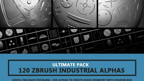 120 Industrial Zbrush Alphas By Travis Davids | ULTIMATE PACK