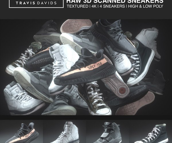 4 Raw 3D Scanned Sneakers Pack