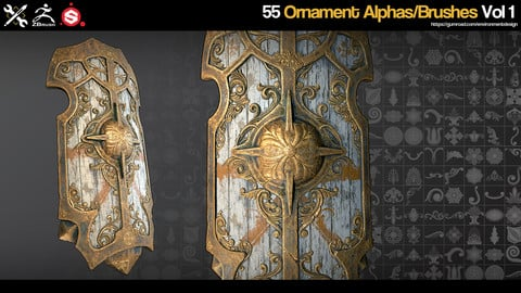 ZBrush/SP - 55 Ornament Brushes/Alphas - Vol.1