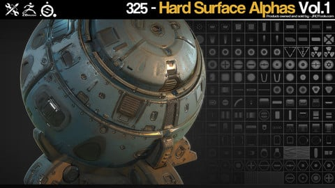 ZBrush/SP - 325 Hardsurface Height/Alpha + Tutorials - Vol.1