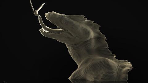 Raptor Dinosaur Bust 3D Print Sculpture