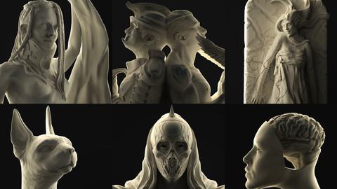 Complete 3D Printable Sculpture Set