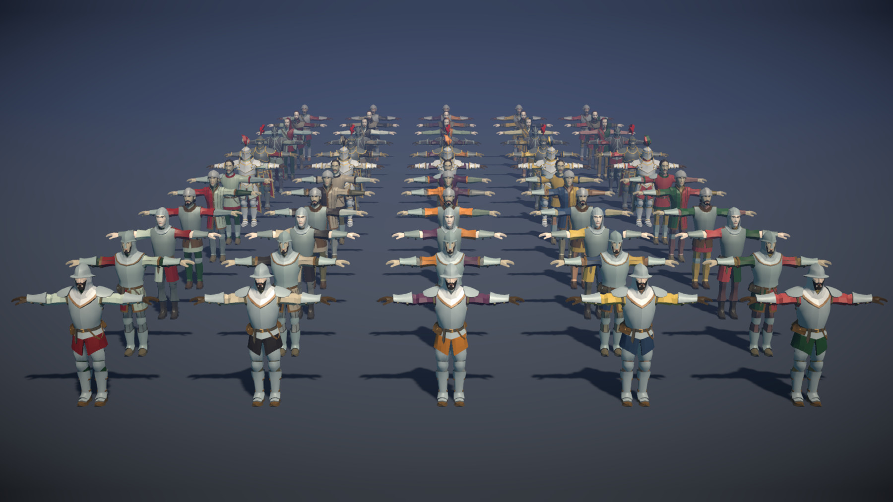 Pt medieval lowpoly characters all