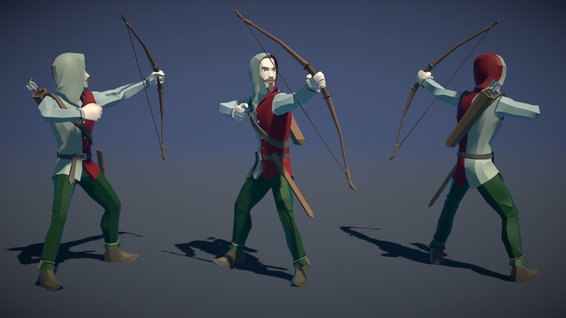 Pt medieval lowpoly characters archer 01