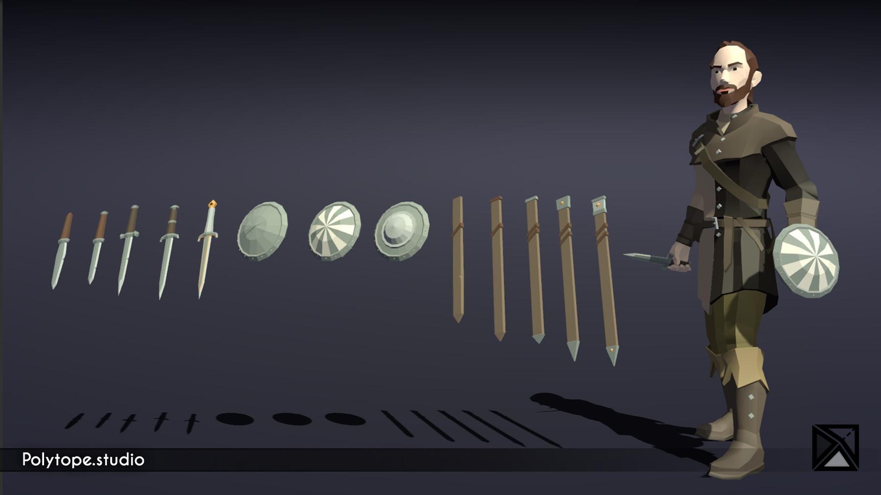 Pt medieval lowpoly weapons dagger shield sheat