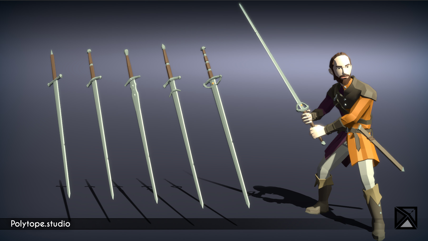 Pt medieval lowpoly weapons long sword