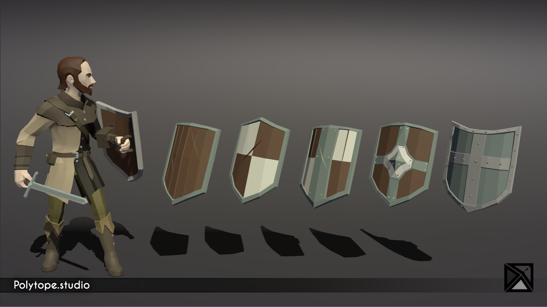 Pt medieval lowpoly weapons shield heater