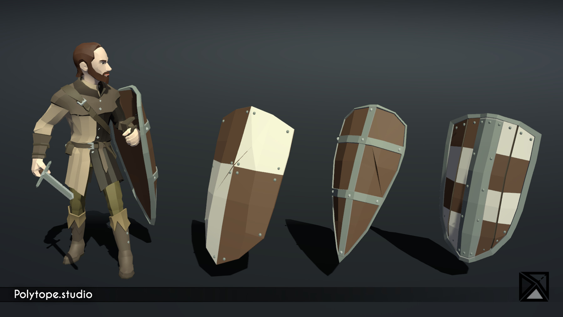 Pt medieval lowpoly weapons shield large