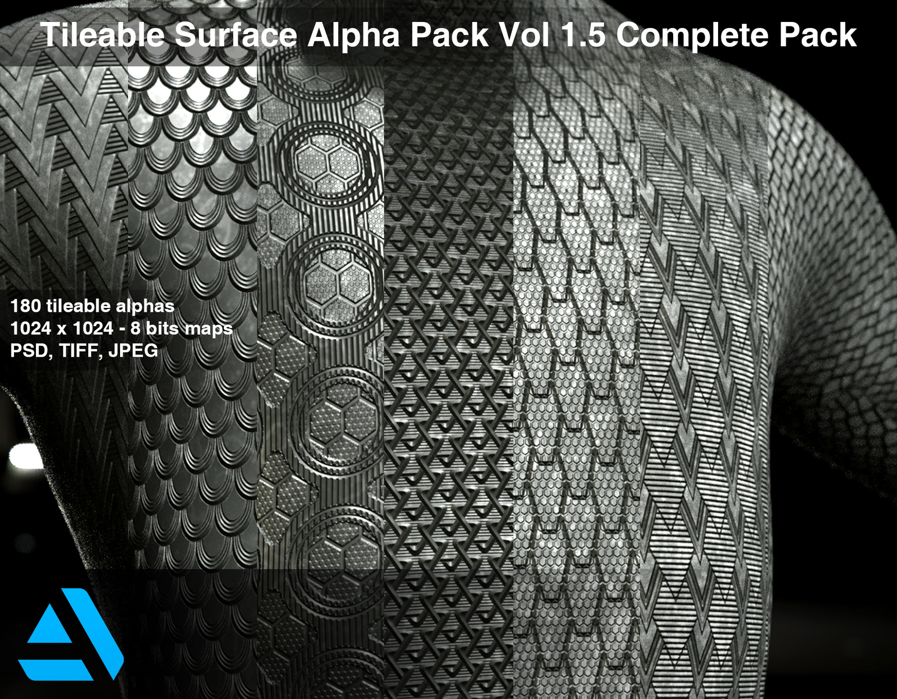 Tileable Surface Alpha Pack Vol 1.5 Complete Pack