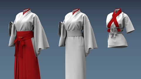 Miko's Attire 3d-pack with Manga Shader