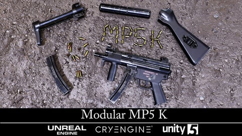 Modular MP5k - Gameready - Fully Textured - Extended License