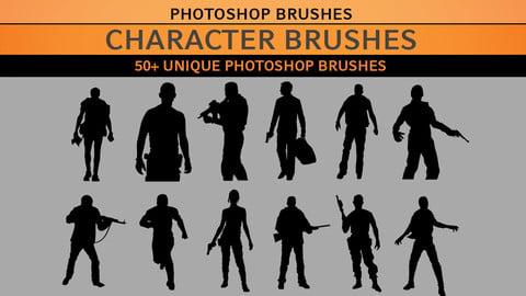 Character Brushes - 50+ Photoshop Brushes