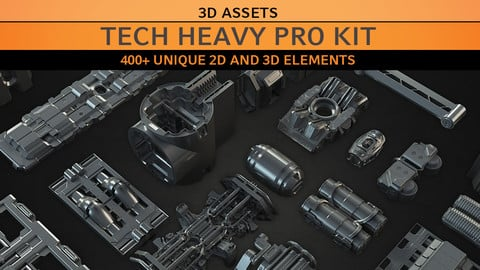 Tech Heavy Pro Kit - 3d & 2D Kitbash Set