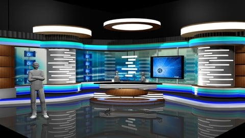 Virtual TV Studio News Set 2