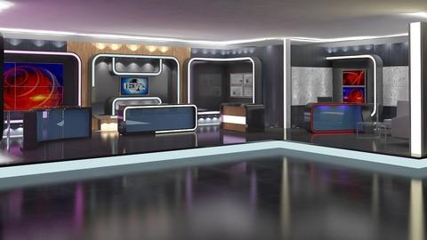 Virtual TV Studio News Set 16