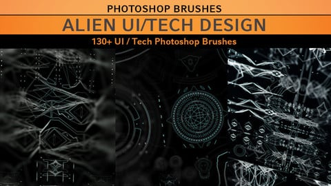 Ui / Alien Tech Photoshop Brushes - 130+ Brushes