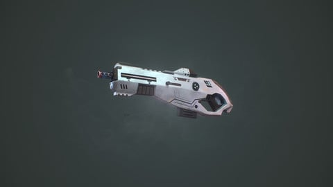 Sci-fi Rifle Game Ready Model With Textures