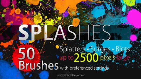 50 High Resolution SPLASHES Brushes for Photoshop CS+