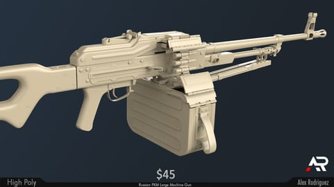 Russian PKM - Detailed High Poly - Weapon Development