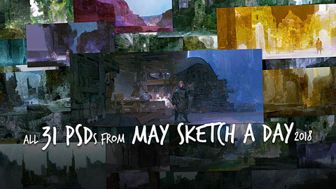 31 PSDs from May Sketch a Day (Full Process)