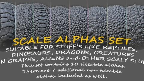 SCALE ALPHAS SET: 10 tileable scales alphas