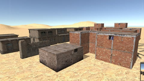 Arab Desert Village Houses building lowpoly