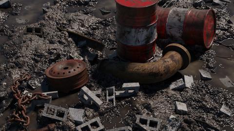 Muddy Junkyard Scene with Props and Debris