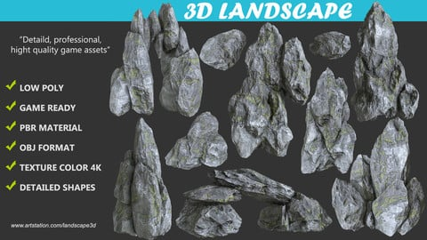 Low poly Realistic Gray Mossy Rock Package