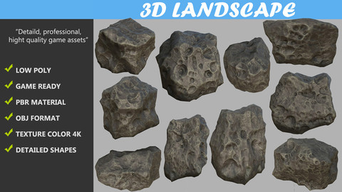 Low poly Realistic Meteor Pack