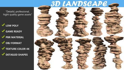 Low poly Sand Stone Column Cliff Modular Pack