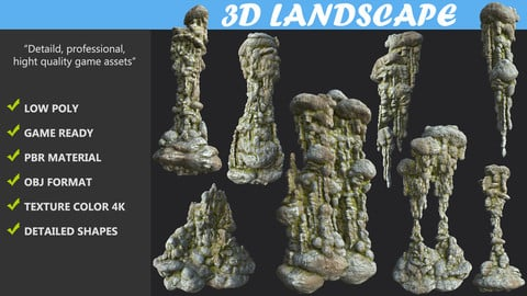 Low poly Mossy Cave Column Modular Pack