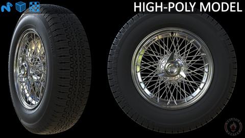 Highpoly Borrani wire wheel with tire