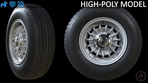Highpoly Campagnolo magnesium rim with tire