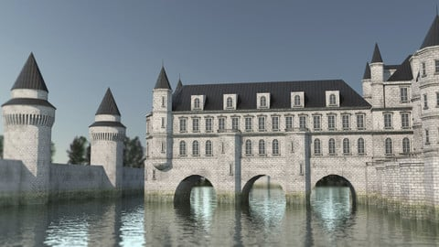 Low Poly Chateau-Castle - Inspired by Chateau de Chenonceau- PBR