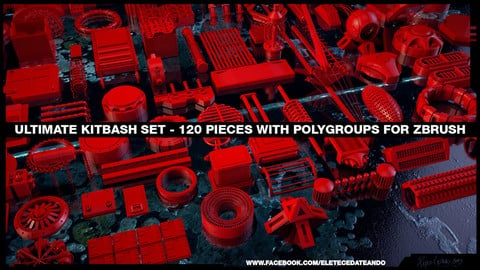 Ultimate Kitbash Set - 120 Pieces for zBrush with Autogroups + MAX + OBJ