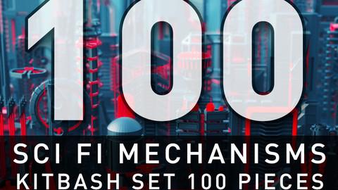 SCI FI Mechanisms Kitbash Set - 100 Pieces
