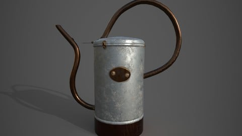 Watering Can PBR textures Real World Scaling Low-poly 3D model